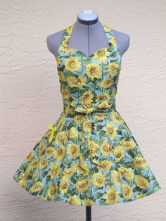Sunflower's Delight Apron- Sexy and Elegant - With a cute yellow bow