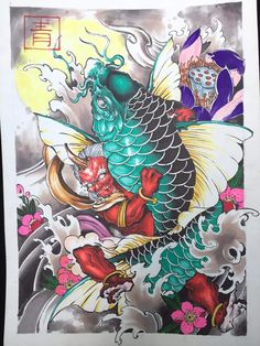 I honestly adore the designs, outlines, and linework.I honestly adore the designs, outlines, and linework. This really is a really great choice if you want a Koi Tattoo Design, Japan Tattoo Design, Japanese Drawings, Japanese Art, Japanese Demon Tattoo, Koi Kunst, Koi Fish Designs, Foo Dog Tattoo, Koi Dragon