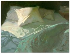 © Sally Strand | Early Hour, Unmade Bed | Giclée print, of original oil on canvas