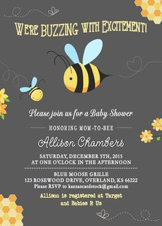 Bee Baby Shower Invitation, Mom to Bee, Baby Shower invite, Bumble Bee Honey Bee, Buzzing Excitement