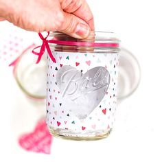 Easy heart cut out mason jar votive. Valentine's Day mason jar craft ideas. Heart mason jar. Valentine mason jar. DIY Valentine gift ideas.