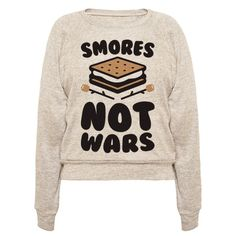 "Share in some smores love with this ""Smores Not Wars"" camping design featuring a smores illustration and some roasted marshmallows! Perfect for making smores, camping, roasting marshmallows, food jokes, sitting by a campfire, and being anti-war!"