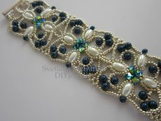 PDF beaded bracelet pattern seed beads pearls by BeadsMadness, $4.00