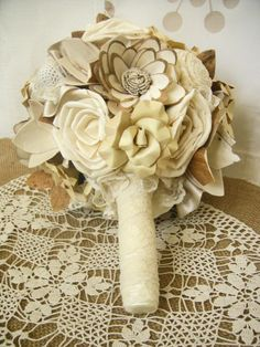Bridal Bouquet with lace and sola flowers Wedding by superlunary