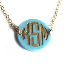 Moon and Lola Acrylic Hartford Monogram Necklace