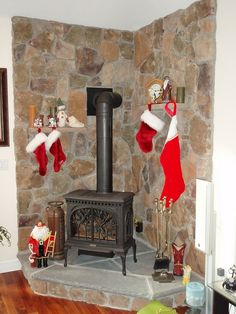 pictures of cornered wood stoves in cabin wood walls - Google Search