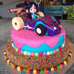 Vanellope von Schweetz Wreck It Ralph cake by Richard Burr Birthday Cakes Girls Kids, Bday Girl, Disney Birthday, Frozen Birthday, Cake Kids, Cake Birthday, 5th Birthday, Birthday Ideas, Wreck It Ralph