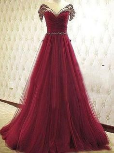 Elegant Prom Dresses, New Style Prom Dresses Long A-Line V-Neck Tulle Burgundy Evening Formal Gowns Shop for La Femme prom dresses. Elegant long designer gowns, sexy cocktail dresses, short semi-formal dresses, and party dresses. Off Shoulder Evening Dress, A Line Evening Dress, Evening Dresses, Shoulder Dress, Beaded Prom Dress, Tulle Dress, Dress Prom, Prom Dreses, Tulle Lace
