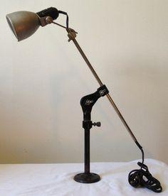 Vintage Industial Machine Age Articulating Telescoping Desk Light Lamp Steampunk | eBay