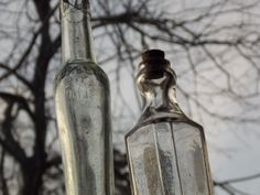 Vintage Set of 2  Glass Bottles one is by EnchantingArtistry, $25.95