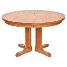 Round Shaker Pedestal Dining Table With Extension In Cherry Maple