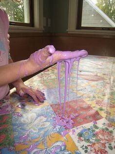 Is there anything a kid likes to do more than make a mess?  Invest in a plastic tablecloth and make up some Goo!  Science is doing things ...