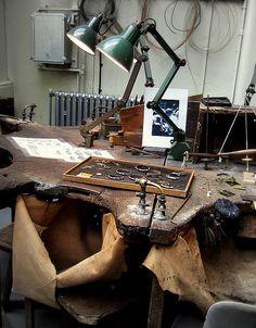 Jeweller's bench, via Flickr.