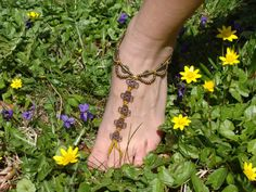 Items similar to Macrame Barefoot Sandal brownish Yellow Anklet flower pendants Bridal Yoga Beach Wedding Bellydance hippie boho gypsy festival on Etsy