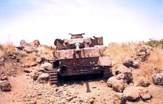 Wreck of Syrian Pzkpfw IV tank rusting on Golan Heights after Six Day War. Note German balkenkreuz on the rear of the vehicle undercovered from layers of paint.