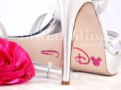 I Do Shoe Stickers For The Disney Bride in Glittering Pink. $6.99, via Etsy. (SO me)