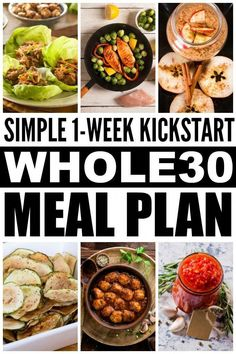 What is the Whole 30 challenge anyway? This simple yet comprehensive Whole 30 Eating Plan offers a complete week 1 kick start guide to help you understand the basic rules, and it includes an easy-to-f(Easy Meal Prep Whole Whole 30 Meal Plan, Whole 30 Diet, Paleo Whole 30, Whole Foods Diet Plan, Whole 30 Menu, Whole Food Recipes, Diet Recipes, Healthy Recipes, Delicious Recipes
