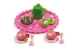 """Teeservice """"Geburtstagskuchen"""". Ein wunderschönes Teeservice mit Kuchen, Zucker und vielem mehr. So kann man einen perfekten Nachmittag verbringen und dabei riesigen Spaß haben. Ob mit Freunden oder mit Kuscheltieren, dieses Teeservice verschönert jeden Geburtstag! Maße: 26,5 x 23,5 x 7,5cm."""