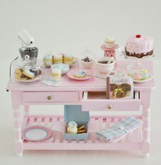1:12 scale // Sweet Petite Miniature Pink Baking Table Set by SweetPetiteShoppe, $105.50
