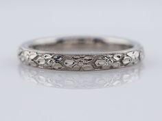 Filigree Jewelers :: Antique Wedding Band Art Deco Orange Blossom in 18k White Gold
