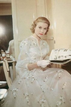 "1956 - Grace Kelly on the set of ""High Society""."