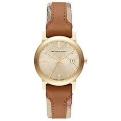 Burberry City  watch. Features include: [Case] 34mm gold PVD coated stainless steel, [Water Resistance] 50m, [Crystal] Sapphire crystal, [Movement] quartz, [Strap / Bracelet] leather strap, [Buckle] Stainless steel tang buckle