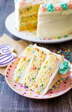 This Funfetti Layer Cake recipe is on sallysbakingaddiction.com!