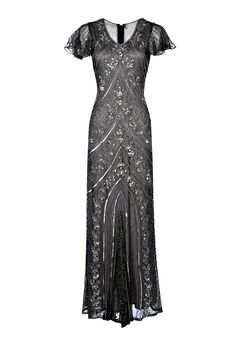 Lima Grey Embellished Flapper Dress, 1920s Great Gatsby Dress, Downton Abbey, Wedding Gown, Evening Maxi Dress, Plus Size Dress, S-XXXXL by Jywal on Etsy