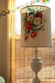vintage tablecloth turned lampshade