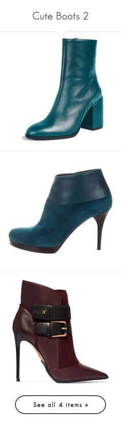 """Cute Boots 2"" by theseapearl ❤ liked on Polyvore featuring shoes, boots, ankle booties, teal, block heel booties, leather sole boots, leather ankle booties, block heel boots, leather boots and blue"