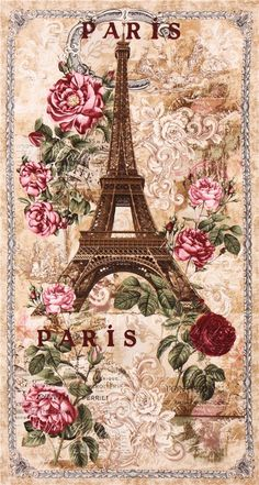 rosas postal decoupage beige Paris Eiffel Tower roses panel Vintage fabric Timeless Treasures 1