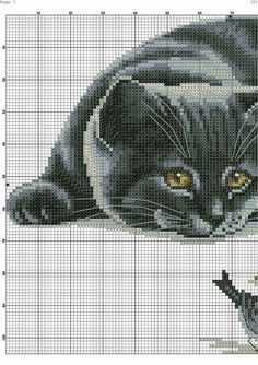 Gatto 1 Cat Cross Stitches, Cross Stitch Needles, Beaded Cross Stitch, Cross Stitch Kits, Cross Stitch Charts, Cross Stitching, Cross Stitch Embroidery, Cross Stitch Patterns, Cat Signs