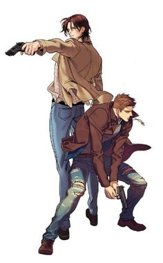Supernatural Anime Style - Sam and Dean Winchester Supernatural Fan Art, Supernatural Wallpaper, Castiel, Supernatural Bunker, Supernatural Symbols, Supernatural Cartoon, Supernatural Drawings, Supernatural Bloopers, Arte Nerd