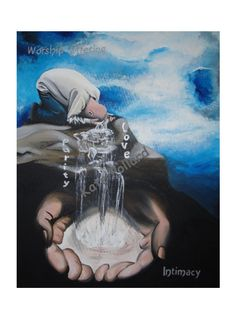 Tears flowing and God catching them. Christian, Prophetic Art, Kate Pollard