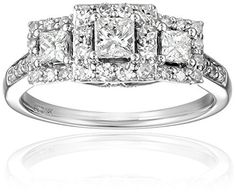 IGI Certified 14k White Gold Princess Diamond Three-Stone Engagement Ring (1cttw, H-I Color, I1-I2 Clarity), Size 8