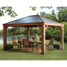 Pergola For Small Backyard Refferal: 8446826958 Backyard Pavilion, Backyard Gazebo, Backyard Patio Designs, Pergola Designs, Pergola Patio, Pergola Plans, Front Yard Landscaping, Pergola Ideas, Wooden Pergola