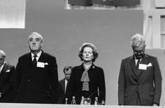 Margaret Thatcher, flanked by William Whitelaw and Douglas Hurd, stands in prayer at the start of the conference's final day. Margaret Thatcher, Brighton, Conference, Prayer, People, Eid Prayer, Prayer Request, People Illustration, Folk