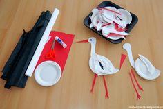 Bocian z talerzyka - Moje Dzieci Kreatywnie Tree Crafts, Origami, Crafts For Kids, Bird, Handmade, Book Week, Diy Things, Alsace, Nursery