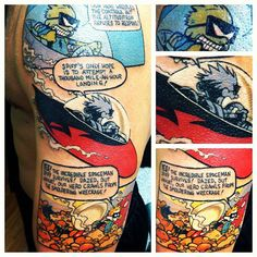 Amazing Calvin and Hobbes Tattoo (not mine) By Randi Polillo at Dynasty Tattoo Unique Tattoos, Cool Tattoos, Geek Tattoos, Crazy Tattoos, Tatoos, Piercing Tattoo, I Tattoo, Calvin And Hobbes Tattoo, Bizarre News