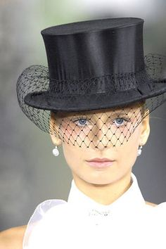 Bridal Black - black riding hat with black wedding veil; Ralph Lauren Spring 2008