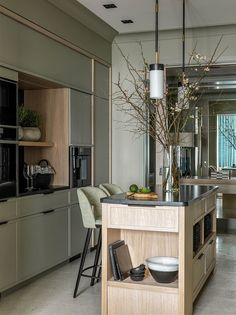 〚 When the view defines design: apartment next to Botanical Garden in Moscow 〛 ◾ Photos ◾Ideas◾ Design Küchen Design, Design Case, House Design, Modern Kitchen Design, Interior Design Kitchen, Living Room Kitchen, Kitchen Decor, Deco Pastel, Cuisines Design