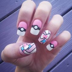 Pokemon Sylveon pastel fake handpainted nails ($24) ❤ liked on Polyvore featuring beauty products, nail care, nail treatments, nails, makeup, nail polish, pokemon and beauty