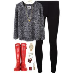 """""""gray, rainy days call for bright boots"""" by classically-preppy on Polyvore"""
