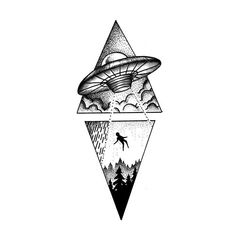 See this and of other Abduction temporary tattoo designs. Then test-drive your custom tattoo before committing forever with Momentary Ink featuring Real Teal™. Kurt Tattoo, Kritzelei Tattoo, Body Art Tattoos, Small Tattoos, Tattoos For Guys, Sleeve Tattoos, Cool Tattoos, Tatoos, Outer Space Tattoos
