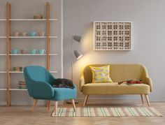 Momo 2 seater yellow sofa and teal armchair with rounded edges and gently reclining back