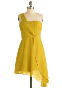 Gamboge Glamour Dress - Short, Yellow, Solid, Pleats, Wedding, Party, Empire, One Shoulder, Spring