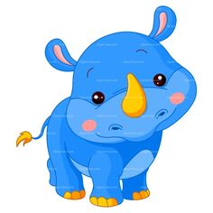 CLIPART BLUE RHINO CARTOON | Royalty free vector design