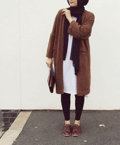brown-knit-coat-hijab- Cozy winter coats with hijab http://www.justtrendygirls.com/cozy-winter-coats-with-hijab/