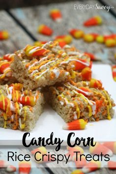 Yummy Candy Corn Rice Crispy Treats Recipe. Perfect fall recipe with candy corn, royal icing and rice crispies. These are a great treat for a Halloween or harve