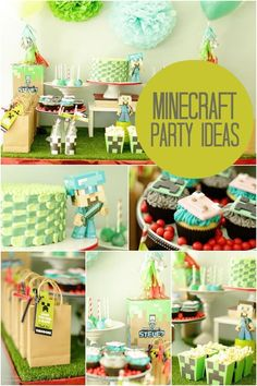 A Minecraft birthday party has become a very popular themed for boy's birthday parties. Does your son. Minecraft Birthday Party, Boy Birthday Parties, Birthday Fun, Birthday Ideas, Mine Craft Party, Minecraft Decoration, Minecraft Crafts, Partys, Childrens Party